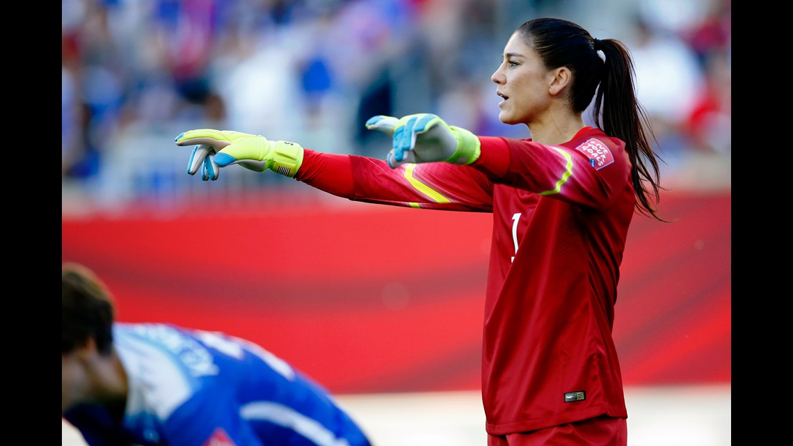 932eddfb30b United States goalkeeper Hope Solo (1) directs the team on a Sweden free  kick during the first half in a Group D soccer match in the 2015 FIFA  women s World ...