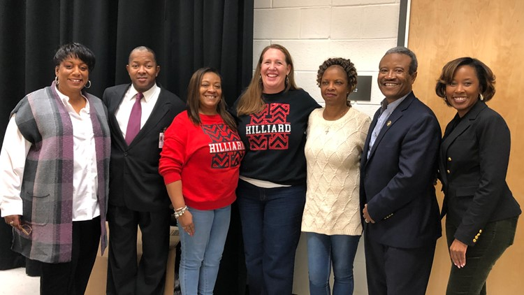 Participants of the Asa G. Hilliard Elementary School winter coat giveaway