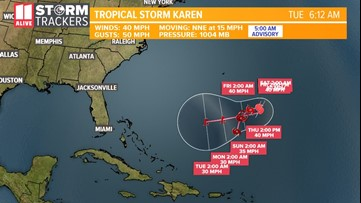 Karen is barely a tropical storm