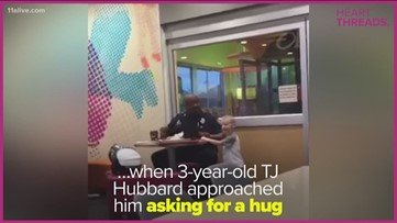 Hug leads to friendship between a boy and officer