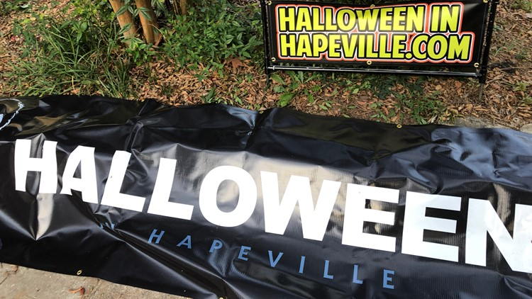 Hapeville Halloween yard signs Before and After