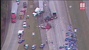 Wreck between semi-trucks spills brake rotors all over I-20 near Atlanta