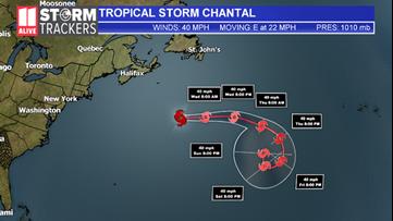 Tropical Storm Chantal forms over North Atlantic