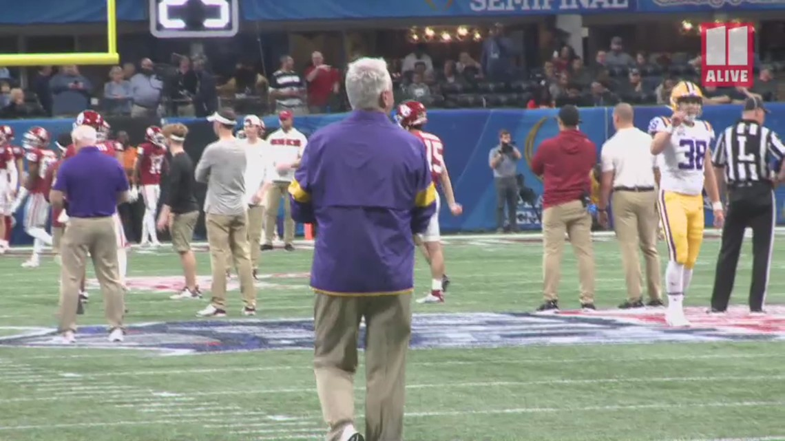 LSU's Steve Ensminger walks sidelines at Peach Bowl after family tragedy
