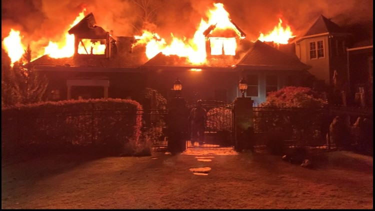 Fire damages large multi-story home near Cobb County country club