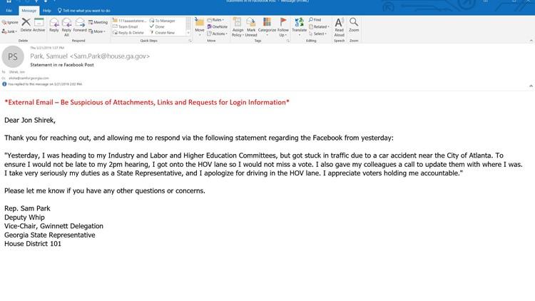 Rep. Sam Park email statement