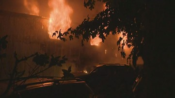 Video shows flames engulfing Tucker building