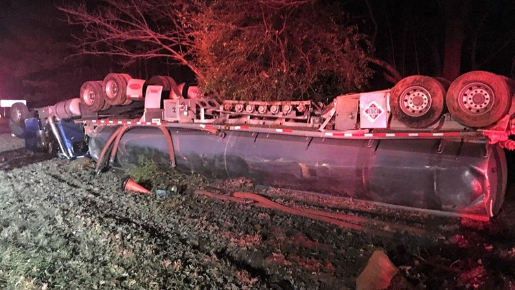 Overturned gas tanker on I-985 in Hall County, Georgia on Dec. 5, 2019