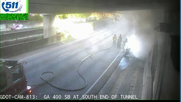 Southbound car fire shuts down part of Ga. 400