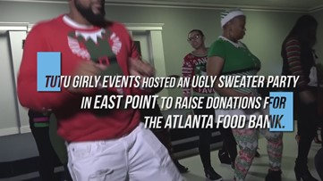 East Point residents flaunted their ugliest holiday sweaters for fun and a good cause.