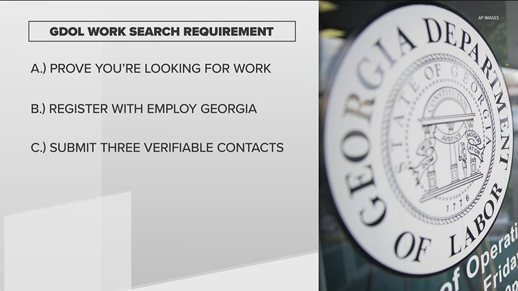 Unemployed Georga residents must prove they are looking for work to receive benefits