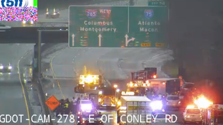 Four-vehicle injury wreck blocks traffic on I-285 WB near ATL Airport for several hours