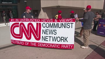 Donald Trump supporters protest outside CNN Center