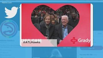 Jimmy Carter and Rosalynn steal show on Atlanta Hawks Kiss Cam