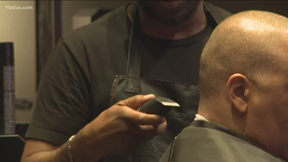 A look inside the barber shop at State Farm Arena