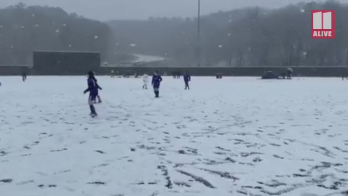 Snowy soccer tournament in Cartersville