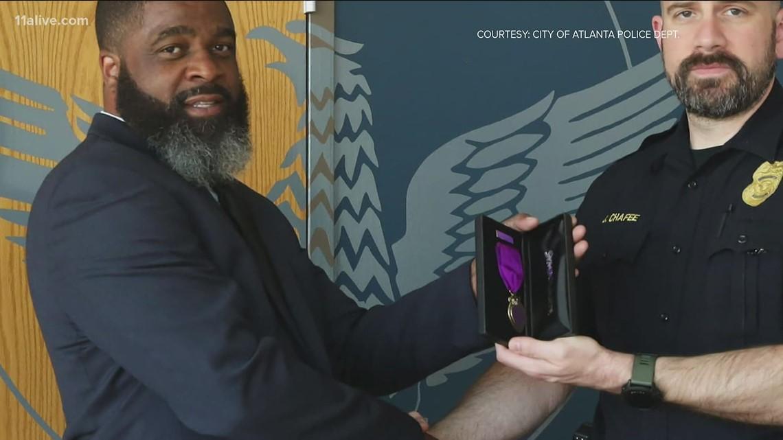 Atlanta officer hit by ATV during protest receives award