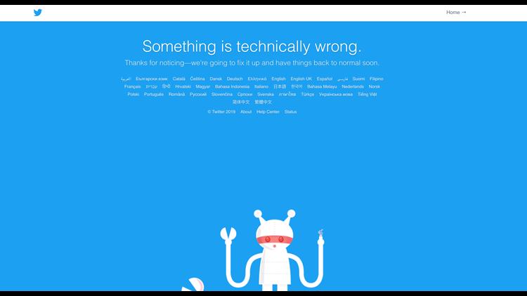 Twitter Error Message