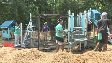 Volunteers build kid-friendly park for students of Rowland Elementary
