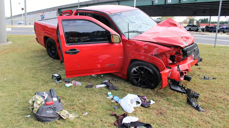 Red truck responsible for deadly crash in Gwinnett County on Nov. 8, 2019