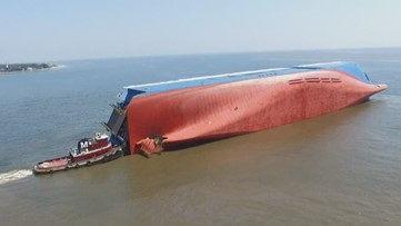 Why did a ship the size of a 70-story building capsize in the Brunswick shipping channel?
