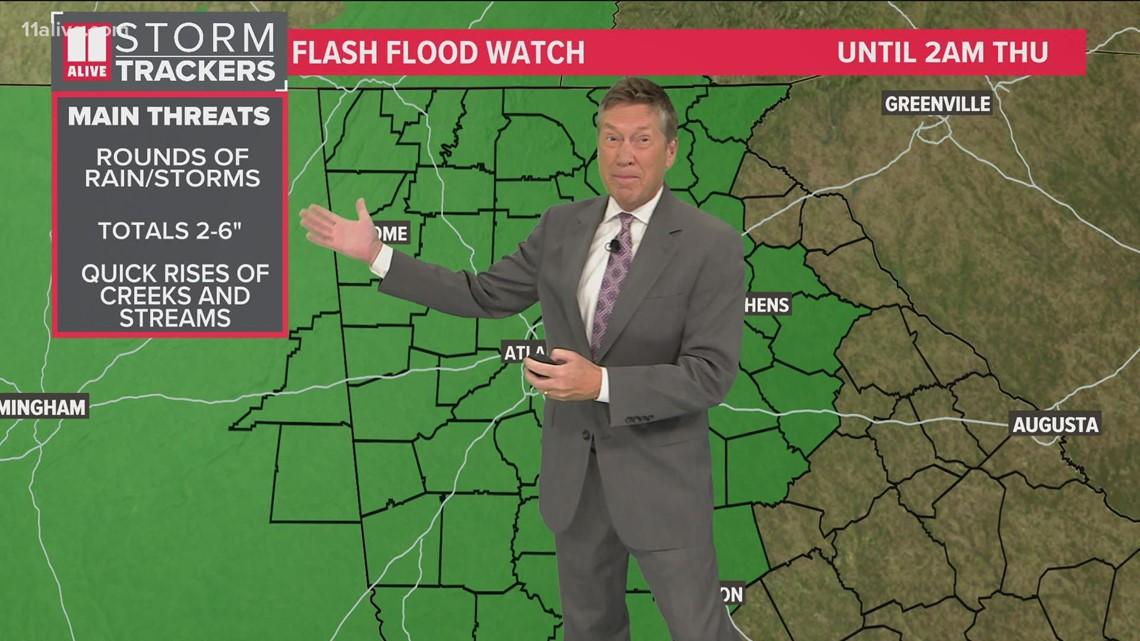 More rain moving in across Georgia