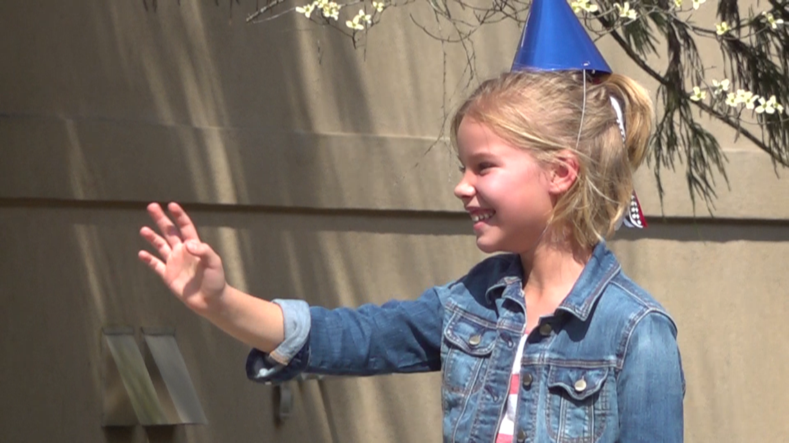 8-year-old celebrates birthday in social distancing style