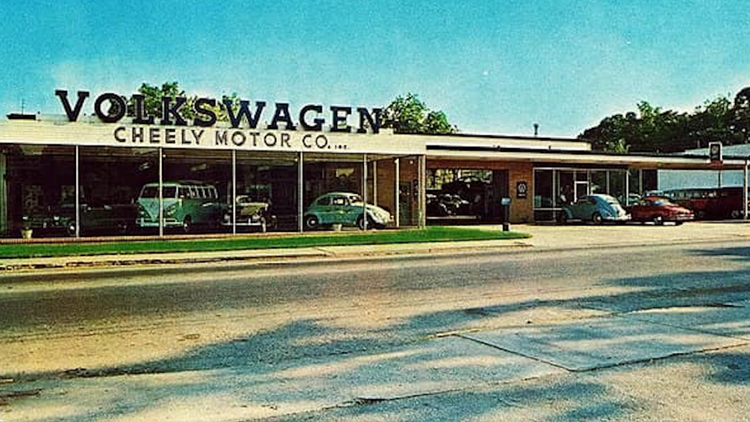Old exterior of VW Dealership on Washington Road in East Point