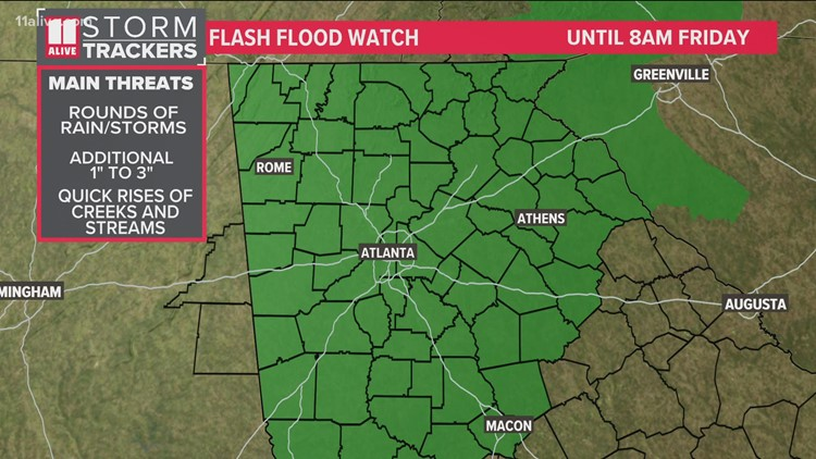 Flash flood watch extended until Friday 8 a.m.