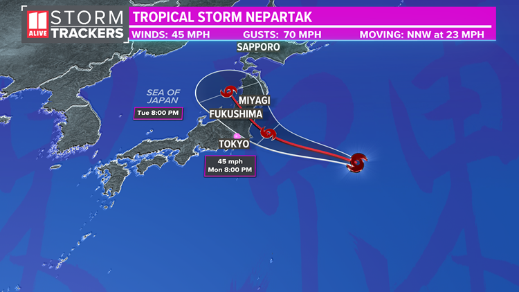 Tropical Storm Nepartak will bring rainy, gusty conditions to Olympics