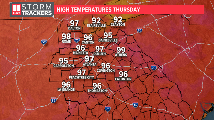 Code orange air quality Thursday as highs climb into the mid and upper 90s