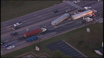 Wreck between 3 tractor trailers, 1 passenger vehicle causing delays on Thonrton Rd.