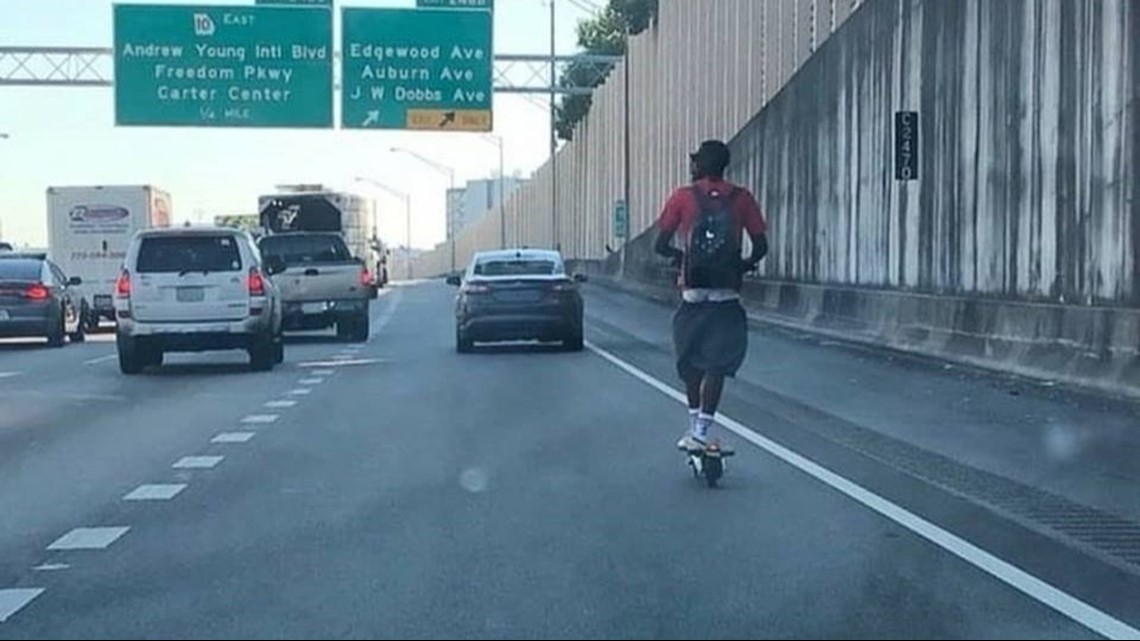 Gas Companies In Ga >> Photo of man riding 'bird scooter' on Downtown Connector goes viral   11alive.com