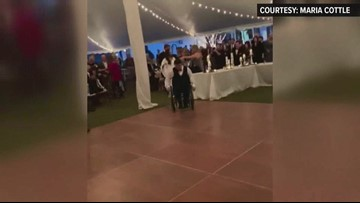 Former UGA baseball player who was paralyzed dances with wife at wedding
