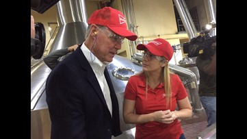 Sen. Perdue tells workers he's not for tariffs; tells reporters he's not opposed either