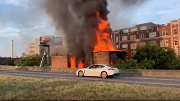 Firefighters battle a two-alarm blaze on Auburn Avenue