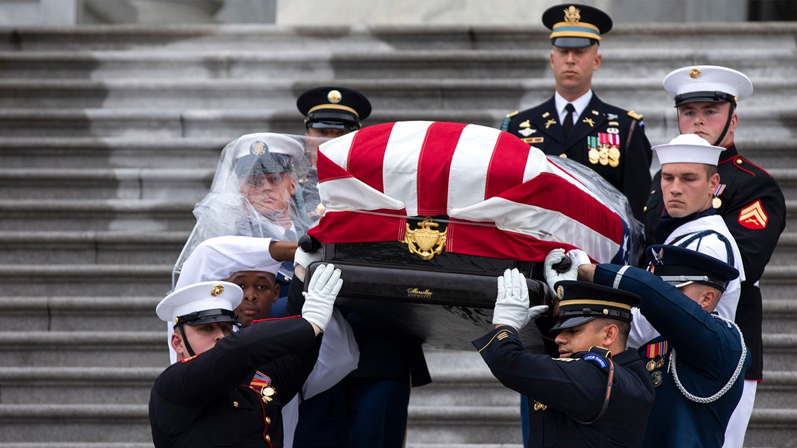 Gas Companies In Ga >> Military pallbearer completes duties at John McCain procession despite plastic covering face ...