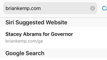 Something weird happens when you go to BrianKemp.com