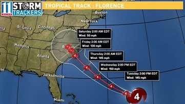 Hurricane watch issued for parts of East Coast as Florence moves in