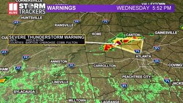 Severe weather moves into metro Atlanta