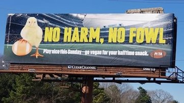 PETA posts pro-vegan Super Bowl billboard next to Atlanta fried chicken shack