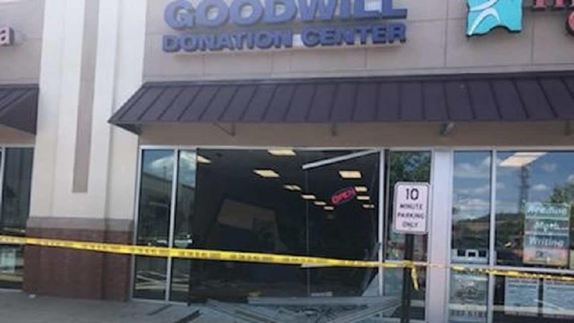 Elderly driver sends vehicle completely through Goodwill
