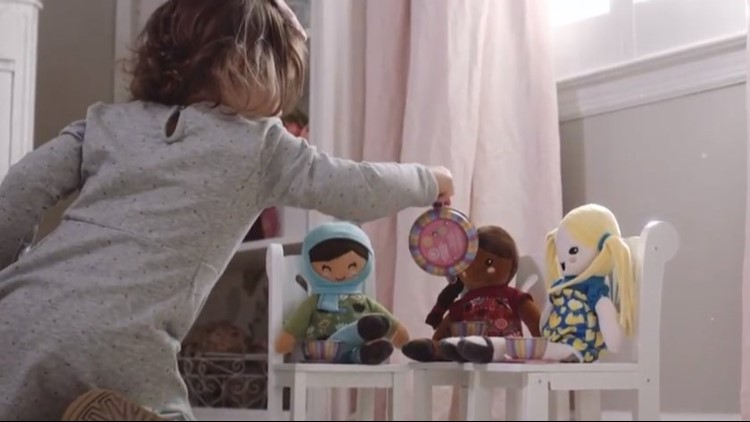 """Working moms Valerie Alva-Ruiz and Courtney Stillwagon created """" Selma's Dolls """" to celebrate diversity of religion, culture and physical and mental disabilities."""