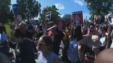 Demonstrators gather in downtown Atlanta for anti-Kavanaugh rally