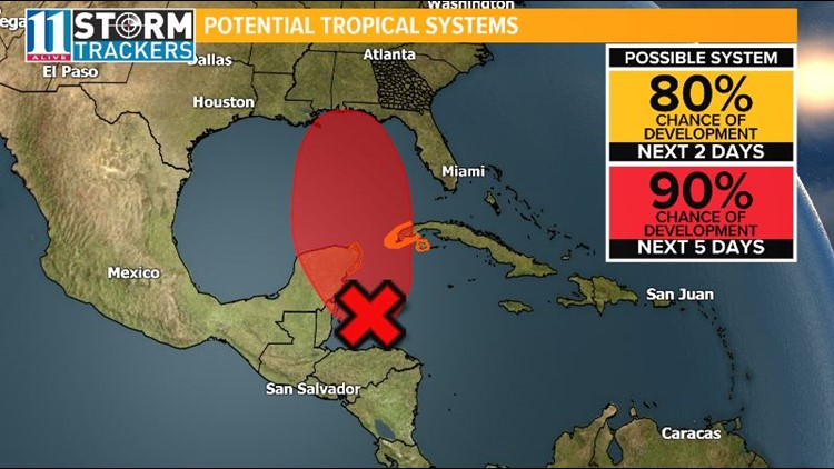 Developing Tropical System may bring rain to Georgia Mid-Week