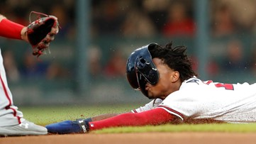 WATCH: Ronald Acuña Jr. scores run for Braves after comical faceplant