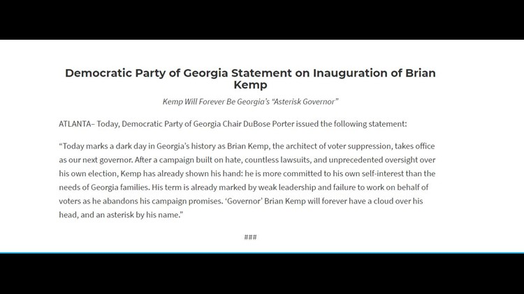 Democratic Party of Georgia issues statement on inauguration of Brian Kemp