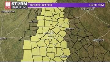 Tornado threat, damaging wind gusts move east out of metro Atlanta