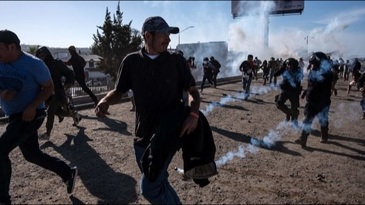 Migrant Caravan border tear cas