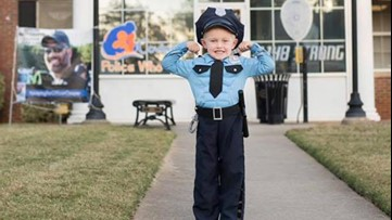 'He's brave and strong!'   4-year-old dresses as Covington Police Officer Matt Cooper for Halloween